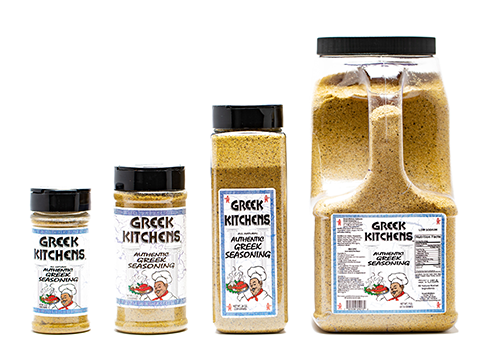 A photo showing all four sizes of Greek Kitchens Seasoning